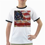 Grunge United State Of Art Flag Ringer T-Shirts Front