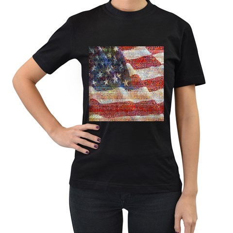 Grunge United State Of Art Flag Women s T-Shirt (Black) (Two Sided)