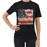Grunge United State Of Art Flag Women s T-Shirt (Black) (Two Sided) Front