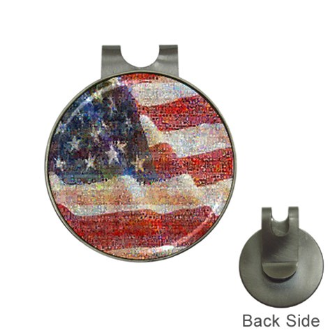 Grunge United State Of Art Flag Hat Clips with Golf Markers