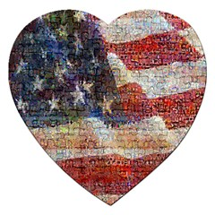 Grunge United State Of Art Flag Jigsaw Puzzle (Heart)