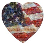 Grunge United State Of Art Flag Jigsaw Puzzle (Heart) Front
