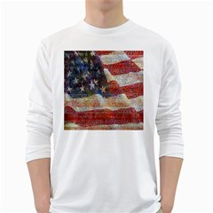 Grunge United State Of Art Flag White Long Sleeve T-Shirts