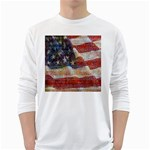 Grunge United State Of Art Flag White Long Sleeve T-Shirts Front