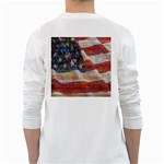 Grunge United State Of Art Flag White Long Sleeve T-Shirts Back