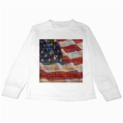 Grunge United State Of Art Flag Kids Long Sleeve T-Shirts