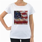 Grunge United State Of Art Flag Women s Loose-Fit T-Shirt (White) Front