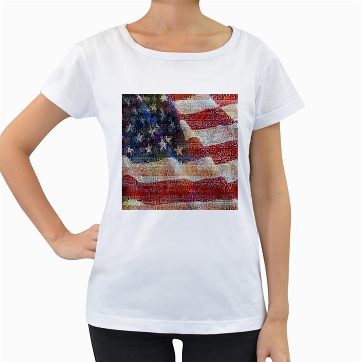 Grunge United State Of Art Flag Women s Loose-Fit T-Shirt (White)