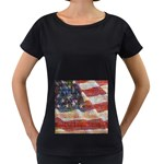 Grunge United State Of Art Flag Women s Loose-Fit T-Shirt (Black) Front