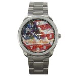 Grunge United State Of Art Flag Sport Metal Watch Front
