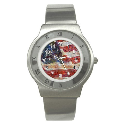 Grunge United State Of Art Flag Stainless Steel Watch