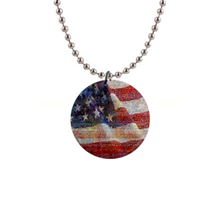 Grunge United State Of Art Flag Button Necklaces