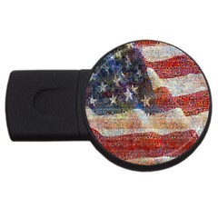 Grunge United State Of Art Flag USB Flash Drive Round (4 GB)