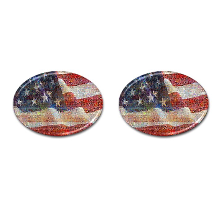 Grunge United State Of Art Flag Cufflinks (Oval)