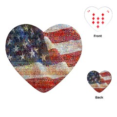 Grunge United State Of Art Flag Playing Cards (Heart)