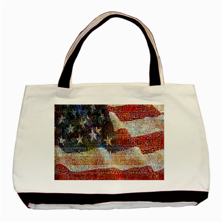 Grunge United State Of Art Flag Basic Tote Bag