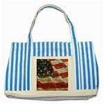 Grunge United State Of Art Flag Striped Blue Tote Bag Front