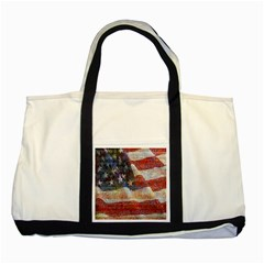 Grunge United State Of Art Flag Two Tone Tote Bag
