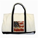 Grunge United State Of Art Flag Two Tone Tote Bag Front