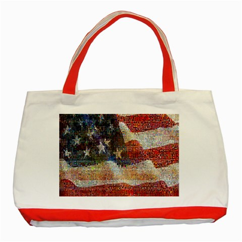 Grunge United State Of Art Flag Classic Tote Bag (Red)