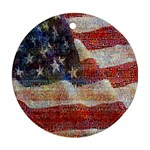 Grunge United State Of Art Flag Round Ornament (Two Sides)  Back