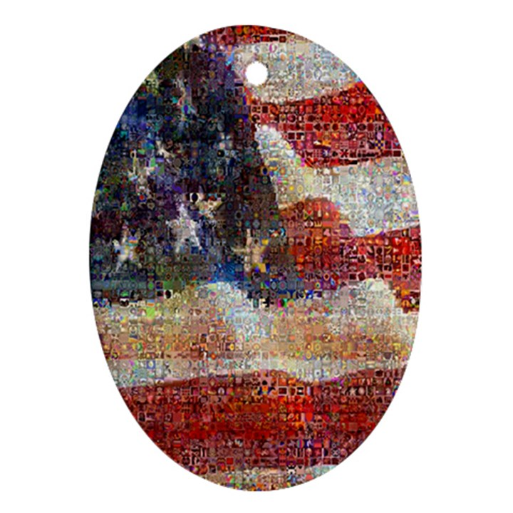 Grunge United State Of Art Flag Oval Ornament (Two Sides)