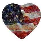 Grunge United State Of Art Flag Heart Ornament (2 Sides) Front