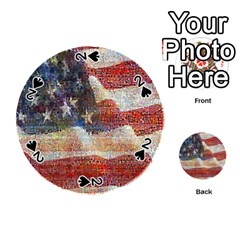 Grunge United State Of Art Flag Playing Cards 54 (Round)