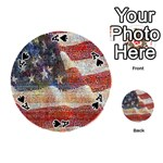 Grunge United State Of Art Flag Playing Cards 54 (Round)  Front - SpadeA