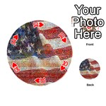 Grunge United State Of Art Flag Playing Cards 54 (Round)  Front - Heart10