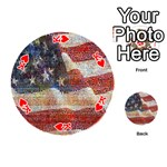 Grunge United State Of Art Flag Playing Cards 54 (Round)  Front - HeartK