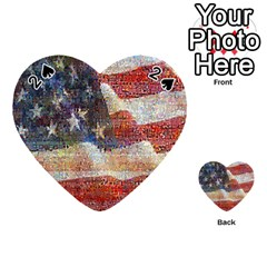 Grunge United State Of Art Flag Playing Cards 54 (Heart)