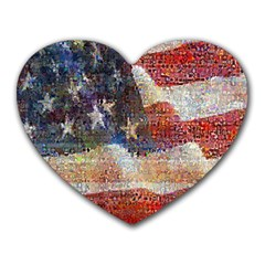 Grunge United State Of Art Flag Heart Mousepads