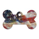 Grunge United State Of Art Flag Dog Tag Bone (One Side) Front