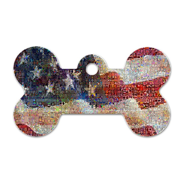 Grunge United State Of Art Flag Dog Tag Bone (One Side)