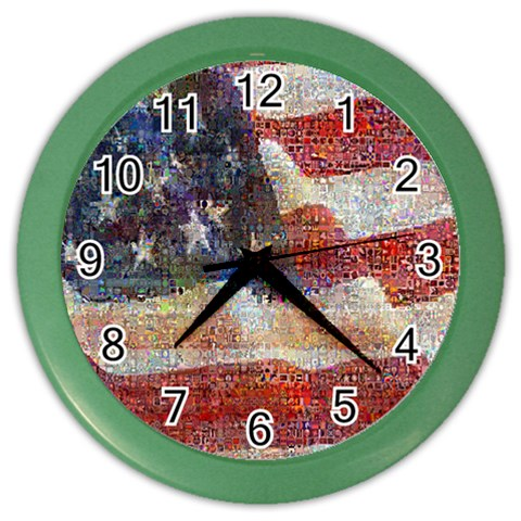 Grunge United State Of Art Flag Color Wall Clocks
