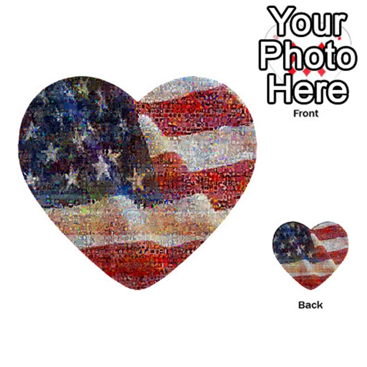 Grunge United State Of Art Flag Multi-purpose Cards (Heart)