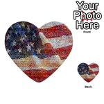 Grunge United State Of Art Flag Multi-purpose Cards (Heart)  Back 51