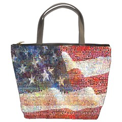 Grunge United State Of Art Flag Bucket Bags
