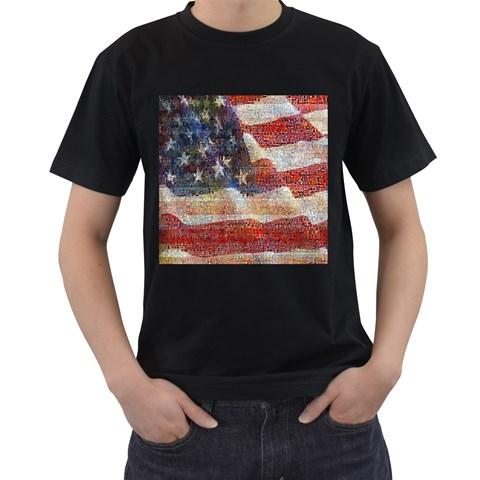 Grunge United State Of Art Flag Men s T-Shirt (Black)