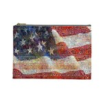 Grunge United State Of Art Flag Cosmetic Bag (Large)  Front