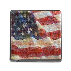 Grunge United State Of Art Flag Memory Card Reader (Square)