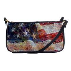Grunge United State Of Art Flag Shoulder Clutch Bags