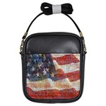 Grunge United State Of Art Flag Girls Sling Bags Front