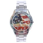 Grunge United State Of Art Flag Stainless Steel Analogue Watch Front
