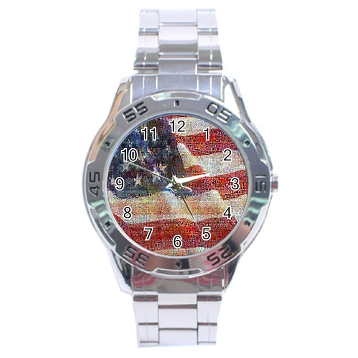 Grunge United State Of Art Flag Stainless Steel Analogue Watch