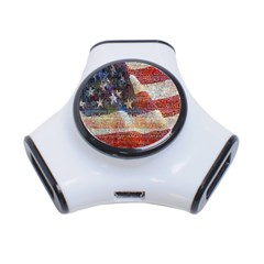 Grunge United State Of Art Flag 3-Port USB Hub