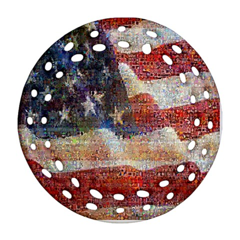 Grunge United State Of Art Flag Round Filigree Ornament (2Side)