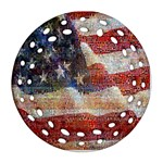 Grunge United State Of Art Flag Round Filigree Ornament (2Side) Back