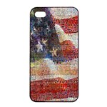 Grunge United State Of Art Flag Apple iPhone 4/4s Seamless Case (Black) Front